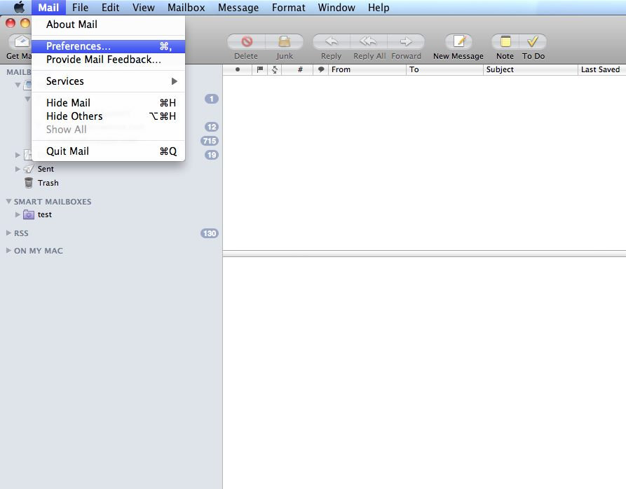Select Mail, Preferences from the top menu.