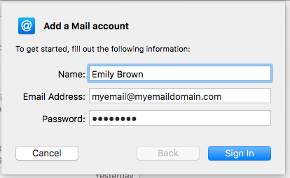 Mac Mail: Enter your email data
