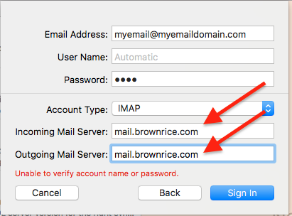 Mac Mail: Incoming server settings
