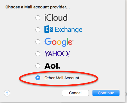 Mac Mail: Select Other Mail Account...